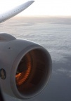 A hot gas turbine engine at 30 thousand feet.
