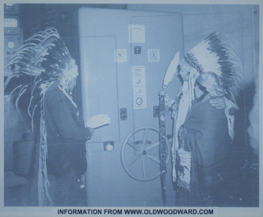 A  Woodward Governor at the Hoover Dam Power House being blessed by Native Americans.