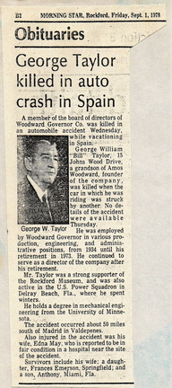 George William Taylor.  Woodward Company worker member from 1934 to 1973.