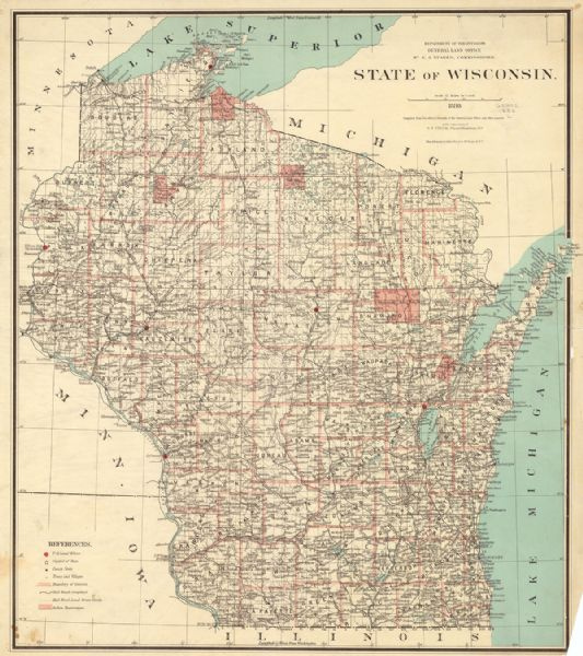 1886 map from the Wisconsin history collection.