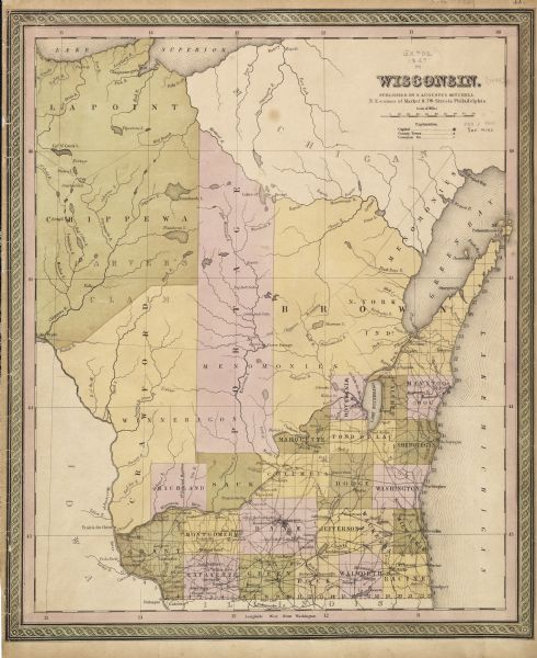 1848 map of Wisconsin.